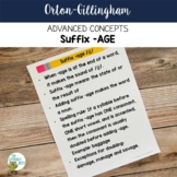 Advanced Orton-Gillingham Activities for Suffix AGE