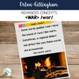 Advanced Orton-Gillingham Activities for WAR /wor/