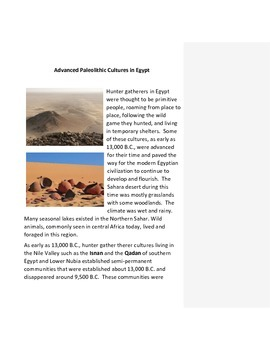 Advanced Paleolithic Cultures in Egypt