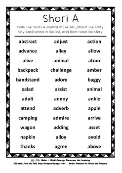 """Advanced Phonics for Middle Primary: """"Short A"""" Word List and Narrative Writing"""