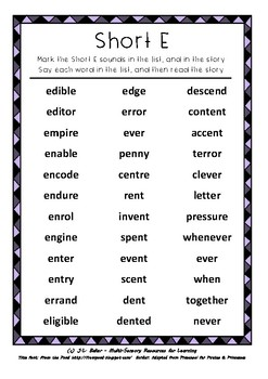 "Advanced Phonics for Middle Primary: ""Short E"" Word List and Narrative Writing"