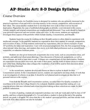 Advanced Placement (AP) 2D and Drawing Portfolio: Syllabus Template