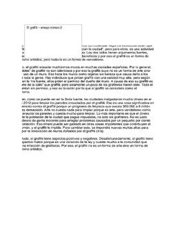 Advanced Placement (AP) Spanish essay: El graffiti: ¿arte o vandalismo?