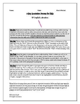 Advanced Placement English Literature Four-Step Annotation Process for FRQs