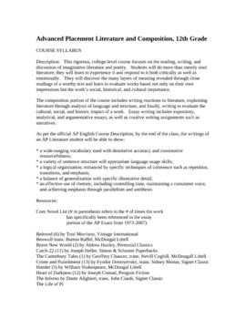 Advanced Placement Literature and Composition Syllabus
