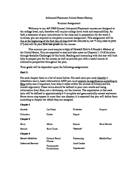 Advanced Placement U.S. History Summer Assignment Terms and Reviews