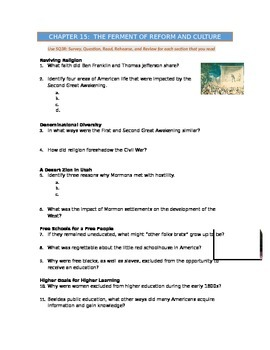 Advanced Placement U.S. History Bailey CH. 15 Study Guide Questions