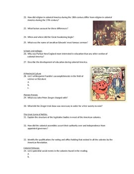 Advanced Placement U.S. History Bailey CH. 5 Study Guide Questions