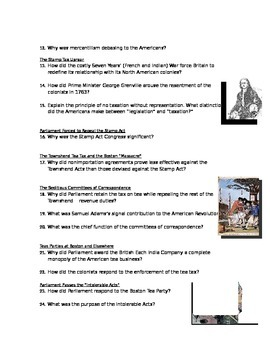 Advanced Placement U.S. History Bailey CH. 7 Study Guide Questions