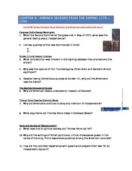 Advanced Placement U.S. History Bailey CH. 8 Study Guide Q