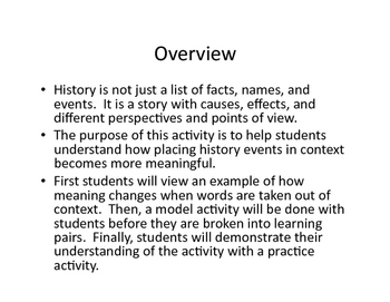 Advanced Placement US History Historical Context Analysis