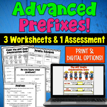 Advanced Prefixes: 5 Worksheets and Assessment