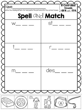 Advanced R-Controlled Vowels Spelling, Cut and Paste Activities