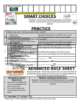 Advanced Rule and Making Smart Choices Think Sheet