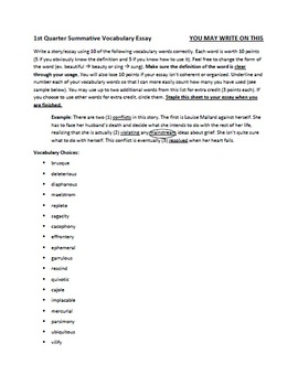 Advanced SAT Vocabulary Tests and Essays (2nd Semester Only)
