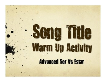 Advanced Ser Vs Estar Song Titles