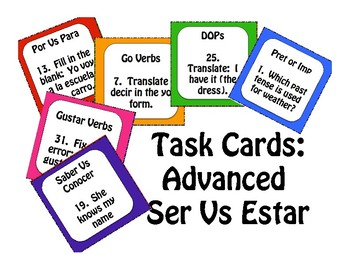 Advanced Ser Vs Estar Task Cards