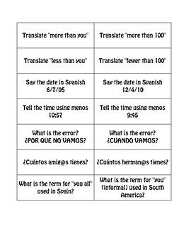 Advanced Spanish Grammar Buzz Game
