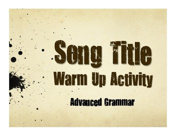 Advanced Spanish Grammar Song Titles