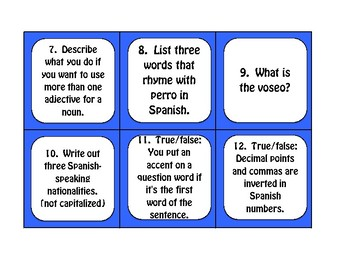 Advanced Spanish Grammar Task Cards