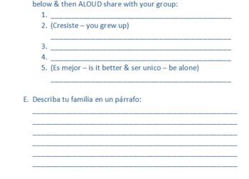 Advanced Spanish Listening Practice Activity