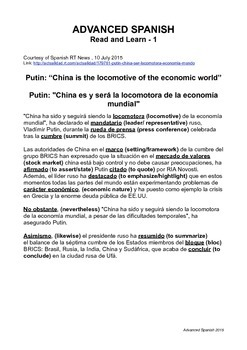 Advanced Spanish Read and Learn 1 Economy of China