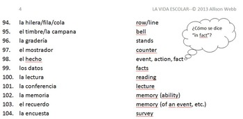 Advanced Spanish Vocabulary List--School Life