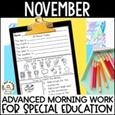 Advanced Special Education Morning Work: November Edition