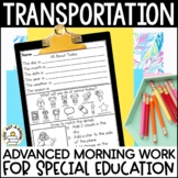 Advanced Special Education Morning Work: Transportation Edition {3 Levels!}