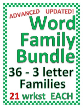 Advanced WORD FAMILY BUNDLE all are 3 letter families