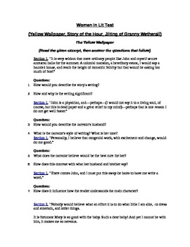 Advanced Women in Literature Test