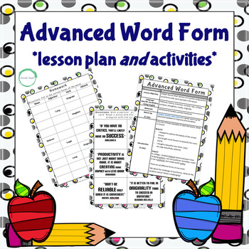 Advanced Word Form Lesson Plan and Activities