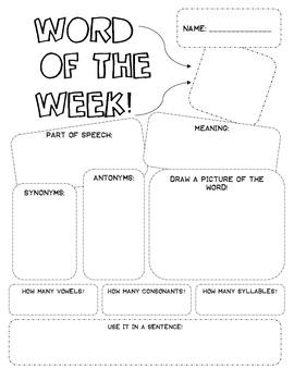 Advanced Word of The Week Worksheet [Fun Routine!]
