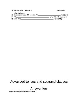 Advanced tenses and si clauses