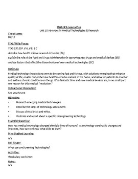 Advances in Medical Technology & Research Lesson Plans