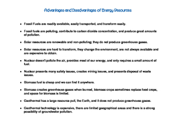Advantages and Disadvantages of Energy Resources
