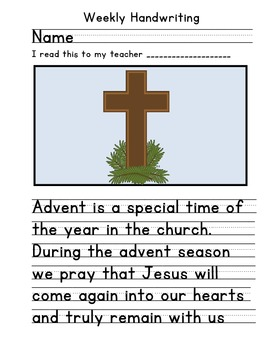 Advent Christmas Handwriting 1 Activity
