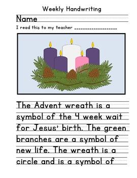 Advent Christmas Handwriting 2 Activity