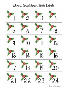 Advent Countdown Book Labels and Book List Template