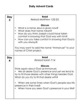 Advent Packet:  Daily Cards with Verses/Discussion Questions and Fun Cards