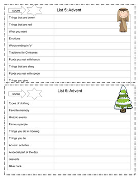 Advent Activities: Scattergories Game