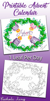 Advent Wreath Calendar for Kids (in Black and White and Color)