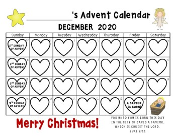 Advent Calendar 2018, Advent Writing Book & Bulletin Board Display
