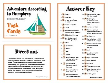 Adventure According to Humphrey Task Cards By Betty G. Birney