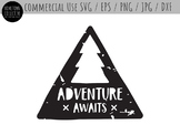 Adventure Awaits Distressed Style Cut File Clip Art - SVG,