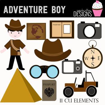 Adventure Boy Digital Clip Art Elements