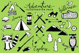 Adventure & Camping Clipart - Black & White Version