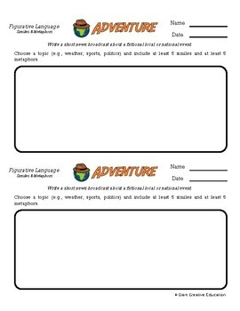 Adventure -- Intro to Figurative Language - Creative Writing Prompts