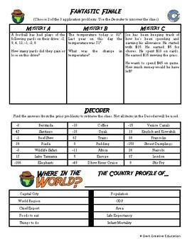 Adventure Math Worksheet -- Adding & Subtracting Integers -- Kenya