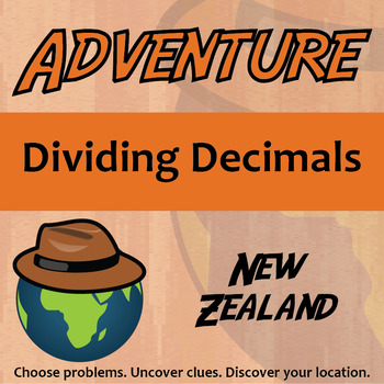 Adventure Math Worksheet -- Dividing Decimals -- New Zealand